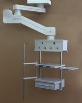 Medical pendant / ceiling-mounted / single-arm / with shelves