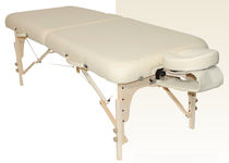 Manual massage table / portable / height-adjustable / with headrest