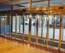 Hospital door / sliding / roll-up / with glass panel
