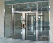 Hospital door / pivoting / with glass panel / glass