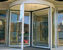Hospital door / drum / with glass panel / glass