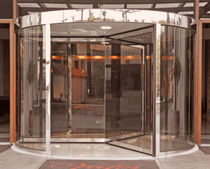 Hospital door / drum / with glass panel