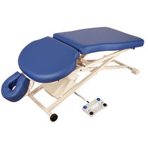 Electric massage table / on casters / height-adjustable / with headrest