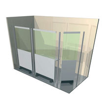X-ray radiation shielding screen / floor-mounted / with window