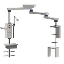 Double medical pendant medical supply system / ceiling-mounted / articulated / with column