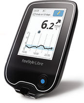 Non-invasive blood glucose meter / with lancing device / with touchscreen / patch