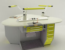 Dental laboratory workstation with light / with footrest / freestanding