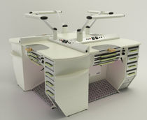 Dental laboratory workstation with footrest