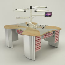 Freestanding dental laboratory workstation / with light / with monitor