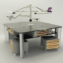 Dental laboratory workstation with footrest / with light / freestanding