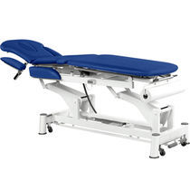 Electric massage table / on casters / height-adjustable / with armrests