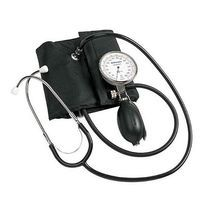 Hand-held aneroid sphygmomanometer with stethoscope