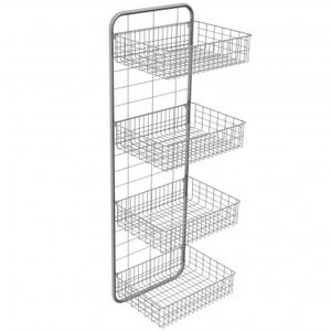 4 Shelf Shelving Unit / For Basket Storage / Wall Mounted / Stainless Steel
