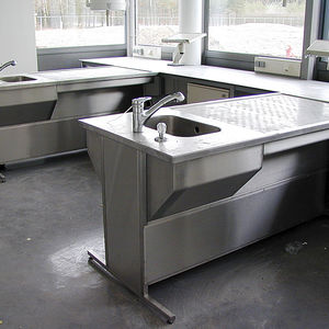 Histopathology Laboratory Bench / Stainless Steel / With Sink /  Height Adjustable