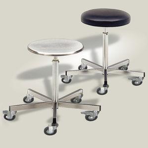Doctoru0027s Office Stool / Height Adjustable / Stainless Steel / On Casters
