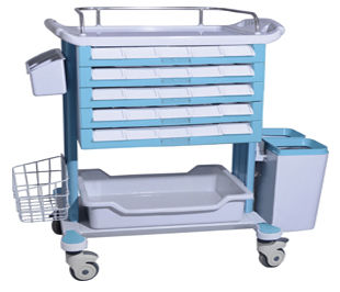 transfer trolley / medicine distribution / for medicine / with drawer