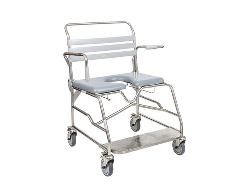shower chair / shower seat / with cutout seat / on casters