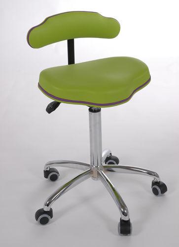 dental stool / with backrest / on casters / ergonomic