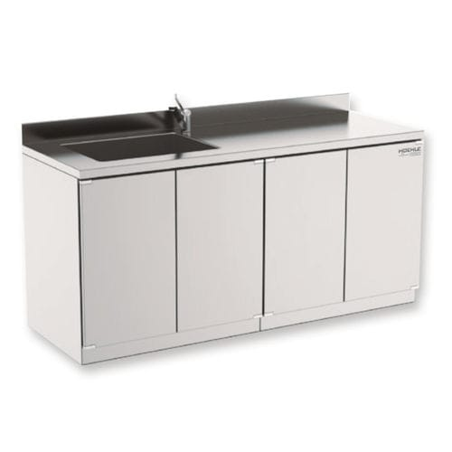 worktop with storage unit / with sink / stainless steel