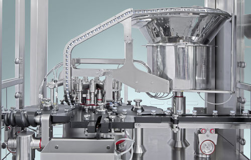 vial capping system / for the pharmaceutical industry / automatic / continuous-motion