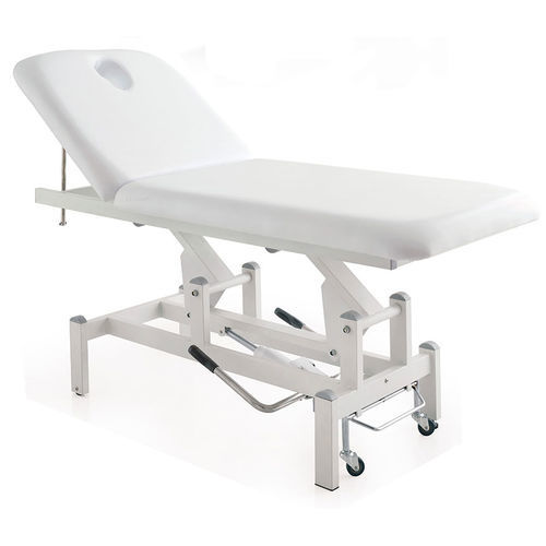 hydraulic massage table / height-adjustable / on casters / 2-section