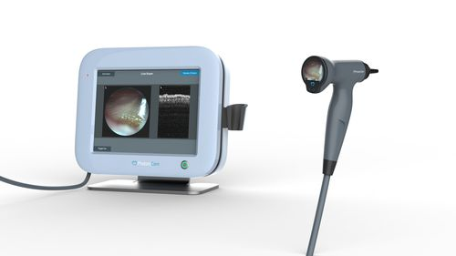 video otoscope / with integrated video monitor / with OCT imaging / pediatric