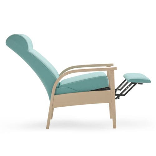 waiting room chair / with armrests / with high backrest / with footrest