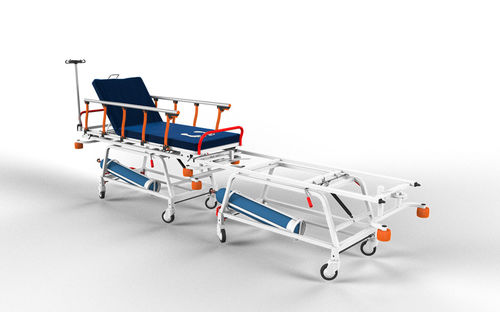 transfer stretcher trolley / patient transfer / pneumatic / with adjustable backrest