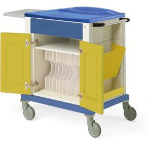 storage trolley / for medical records / with tray / with side bin