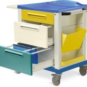 storage trolley / medical records / 3-drawer / with tray