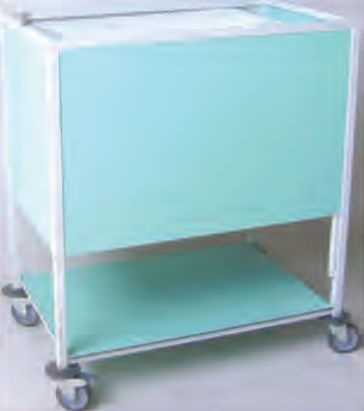 transport trolley / storage / for medical records / with tambour door