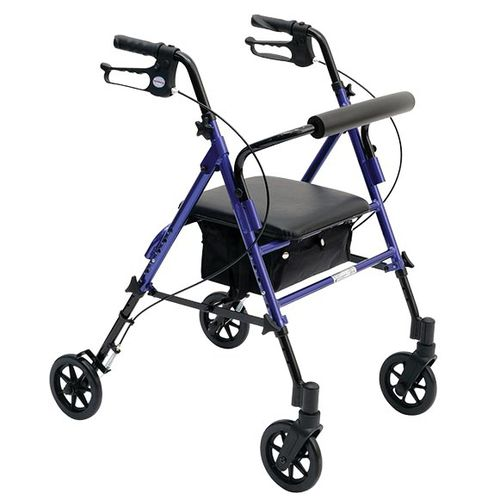 4-caster rollator / height-adjustable / folding / with basket