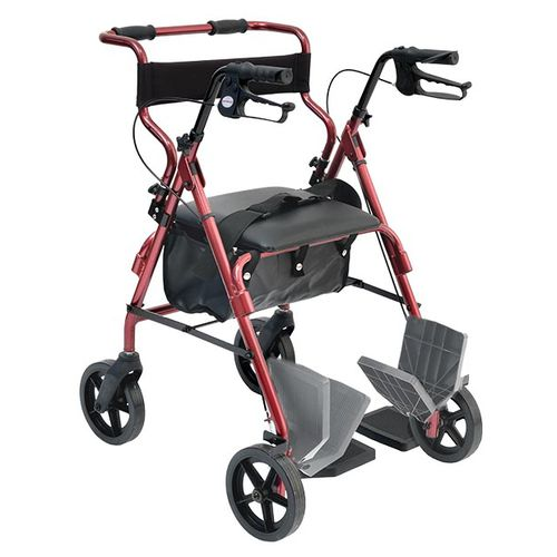 4-caster rollator / with seat / folding / with basket