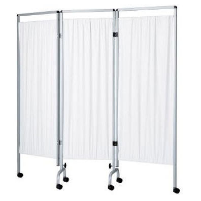 hospital screen on casters / 3-panel / folding