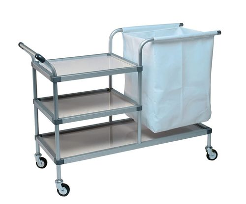 service trolley / for linen / 3-tray / with bag
