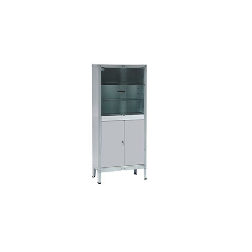 instrument cabinet / hospital / with shelf / with swing doors