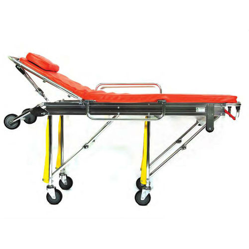 emergency stretcher trolley / manual / with adjustable backrest / self-loading