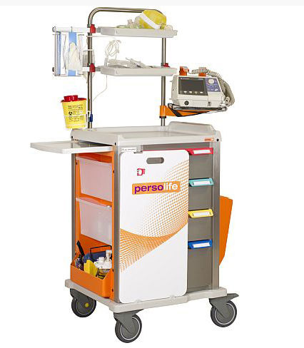 emergency trolley / oxygen cylinder / catheter / 4-drawer