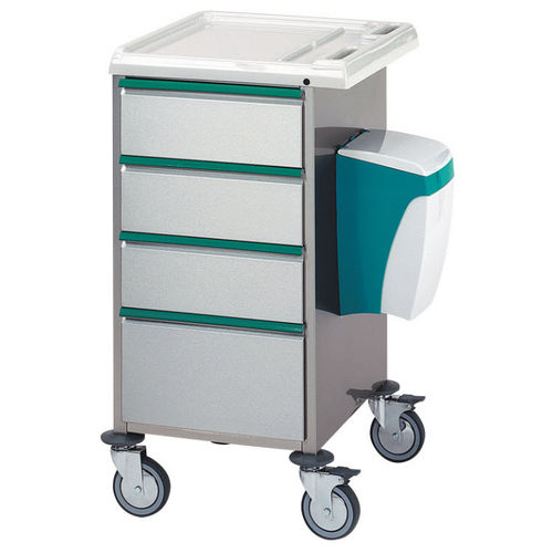 medicine distribution trolley / multi-function / 4-drawer / with waste bin