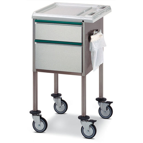 multi-function trolley / 2-drawer / with waste bag holder / stainless steel