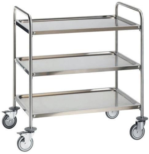service trolley / for operating rooms / for instruments / 3-tray