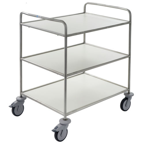 service trolley / for linen / with shelf / 3-tray