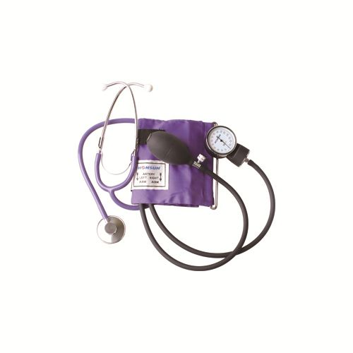 cuff-mounted sphygmomanometer / with stethoscope