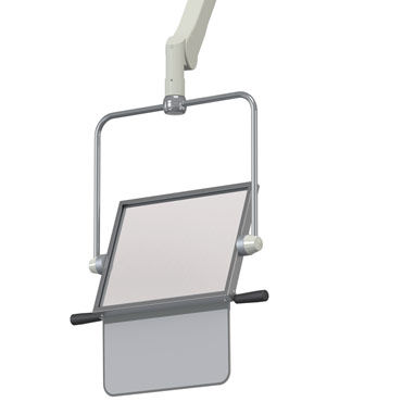 X-ray radiation shielding screen / ceiling-mounted / with window