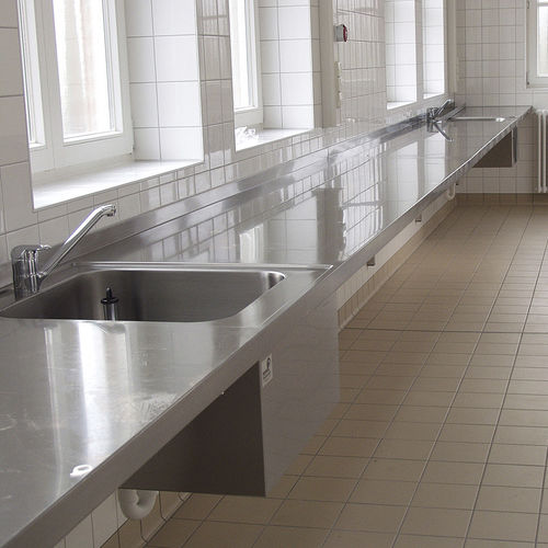 worktop with sink / laboratory / stainless steel / wall-mounted