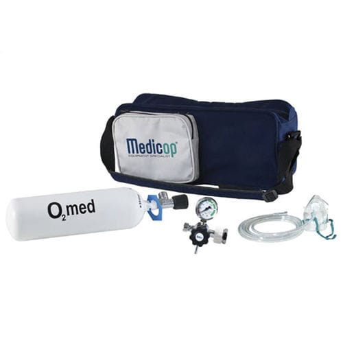 portable oxygen therapy system / with oxygen cylinder / with oxygen mask