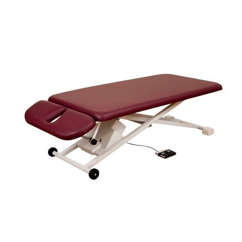 manual massage table / with headrest / height-adjustable / on casters