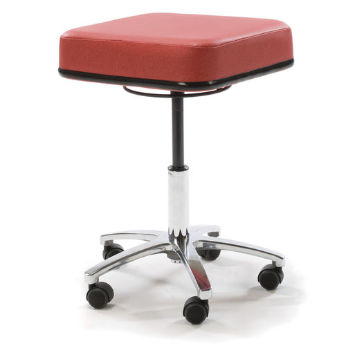 doctor's office stool / height-adjustable / square / on casters