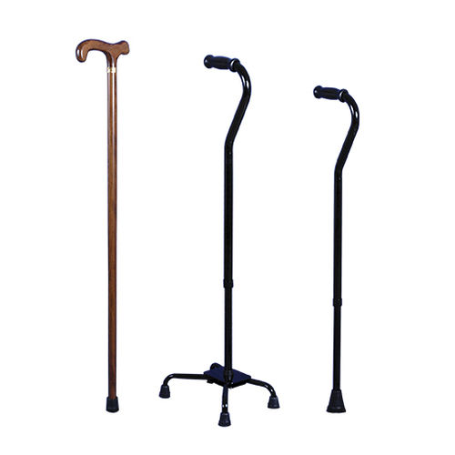walking stick with offset handle / bariatric / height-adjustable