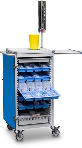 medicine distribution trolley / storage / medication / with hinged door